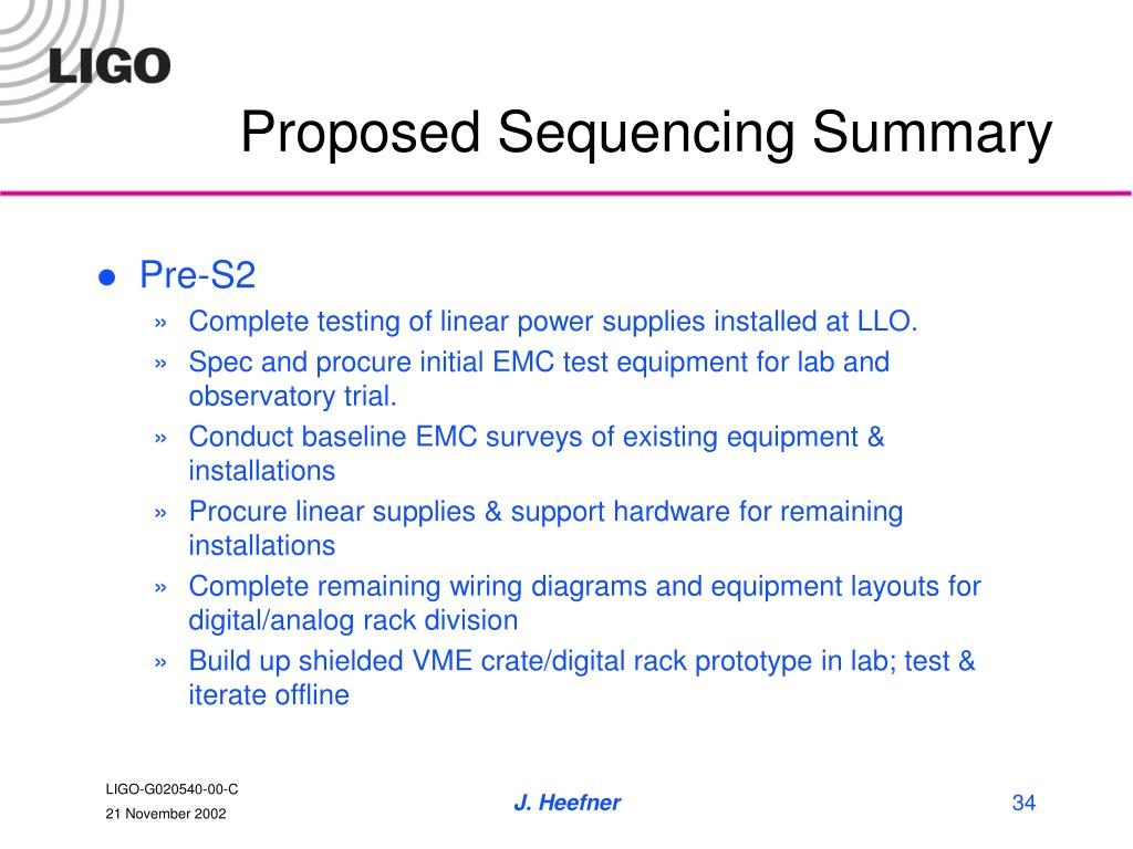 Proposed Sequencing Summary