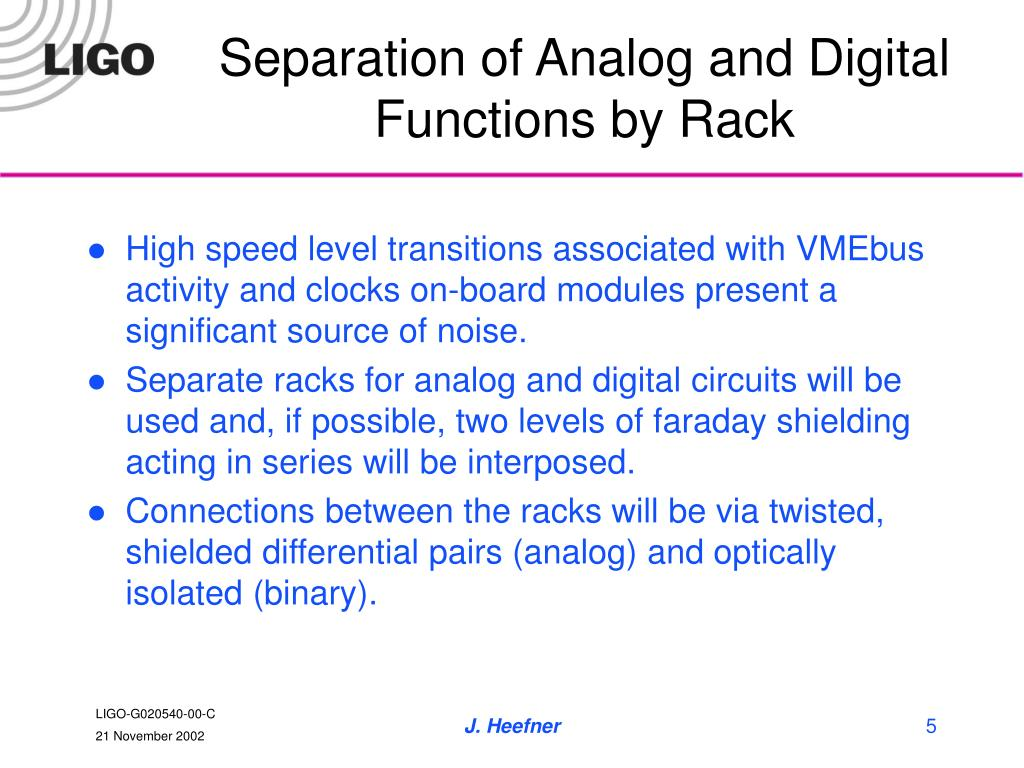 Separation of Analog and Digital Functions by Rack