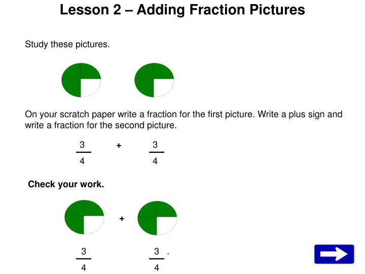 Lesson 2 adding fraction pictures