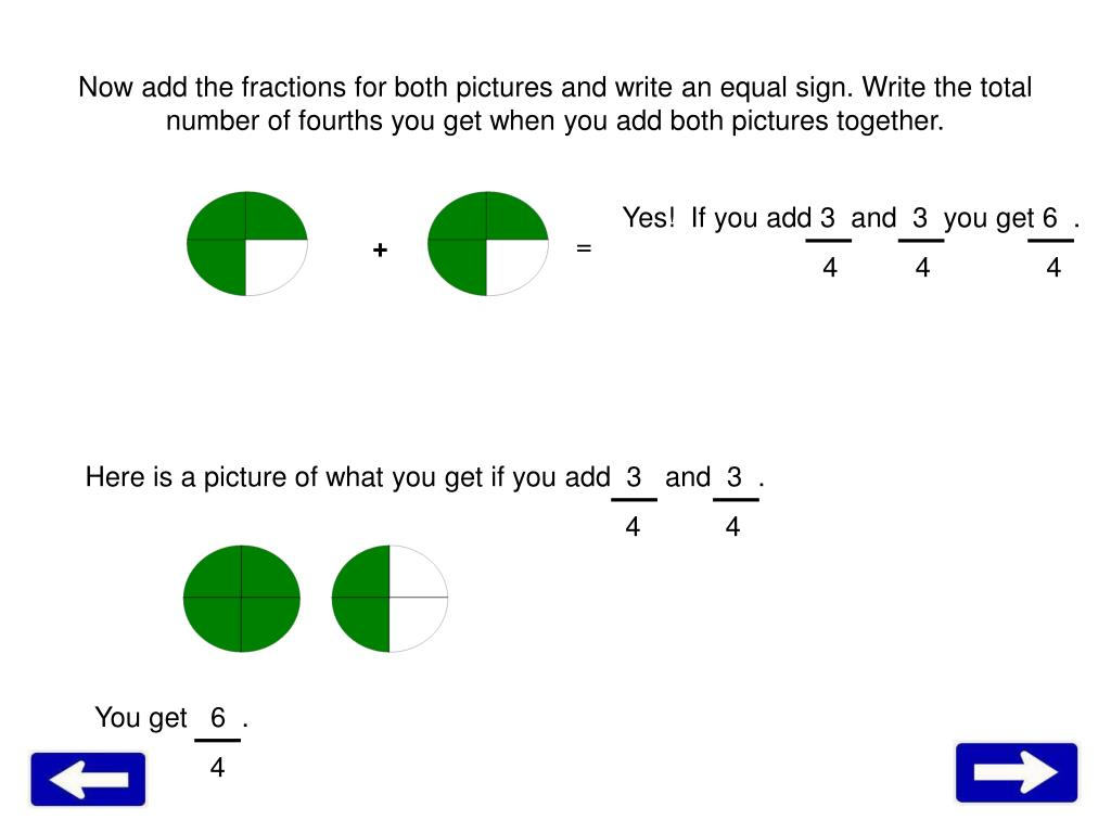 Now add the fractions for both pictures and write an equal sign. Write the total number of fourths you get when you add both pictures together.