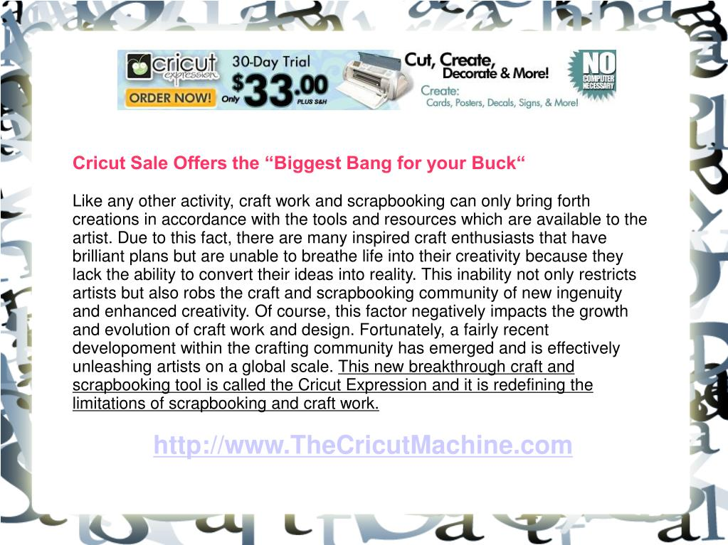"Cricut Sale Offers the ""Biggest Bang for your Buck"""
