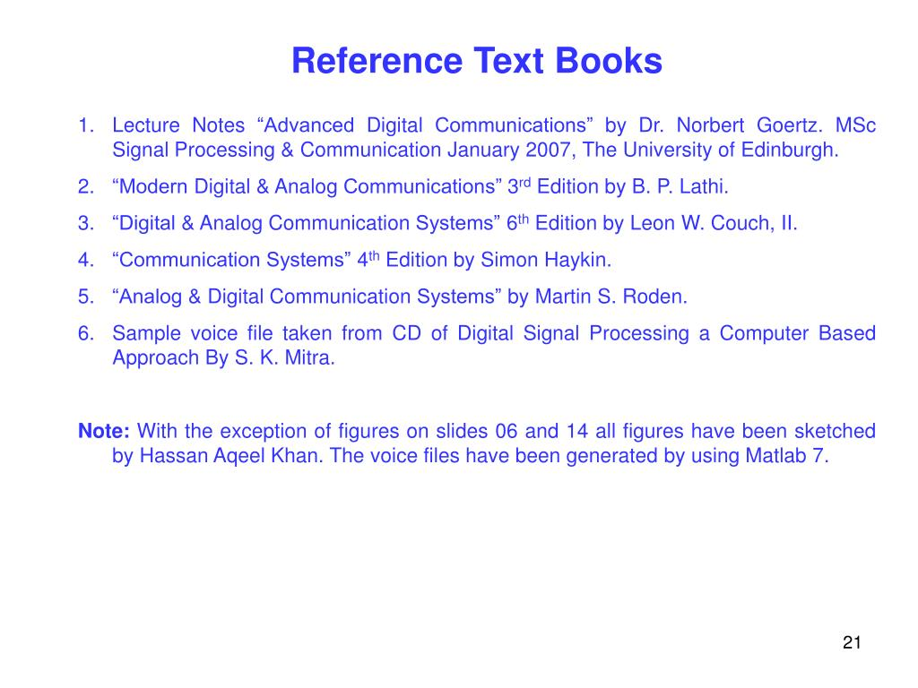 Reference Text Books
