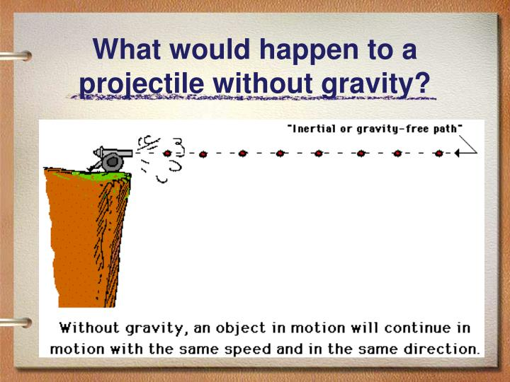 What would happen to a projectile without gravity?