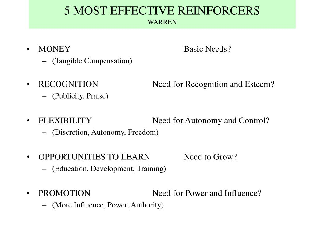 5 MOST EFFECTIVE REINFORCERS