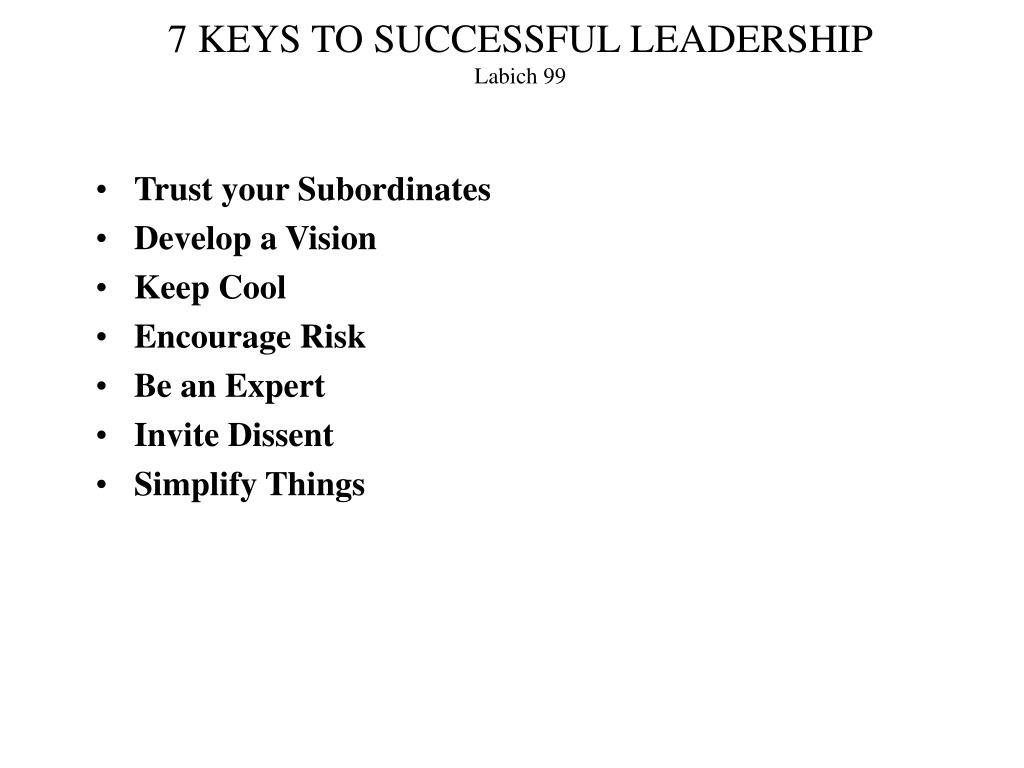 7 KEYS TO SUCCESSFUL LEADERSHIP