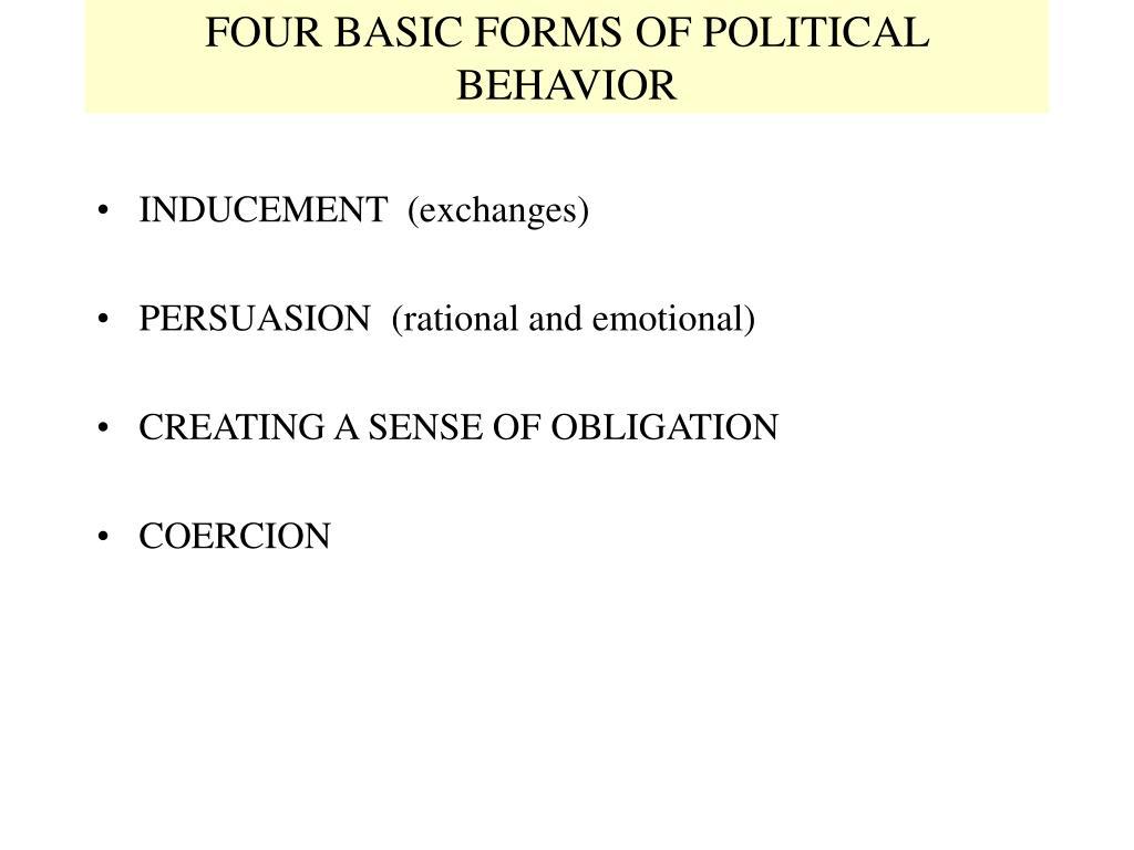 FOUR BASIC FORMS OF POLITICAL BEHAVIOR