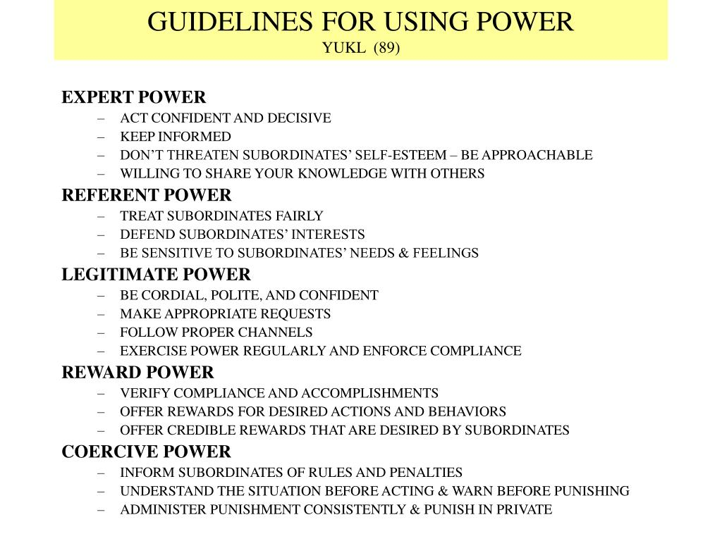 GUIDELINES FOR USING POWER