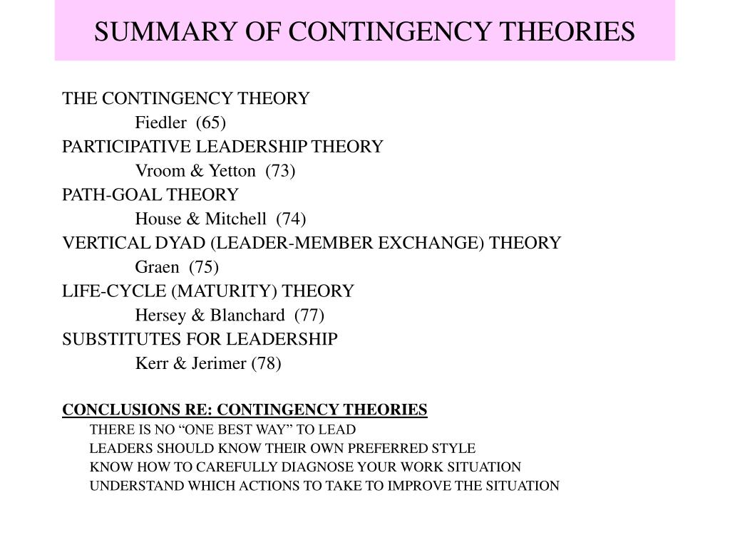 SUMMARY OF CONTINGENCY THEORIES