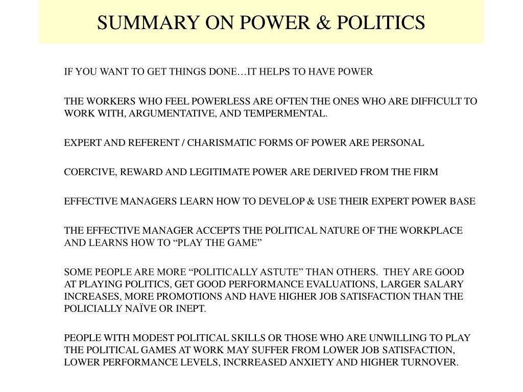 SUMMARY ON POWER & POLITICS