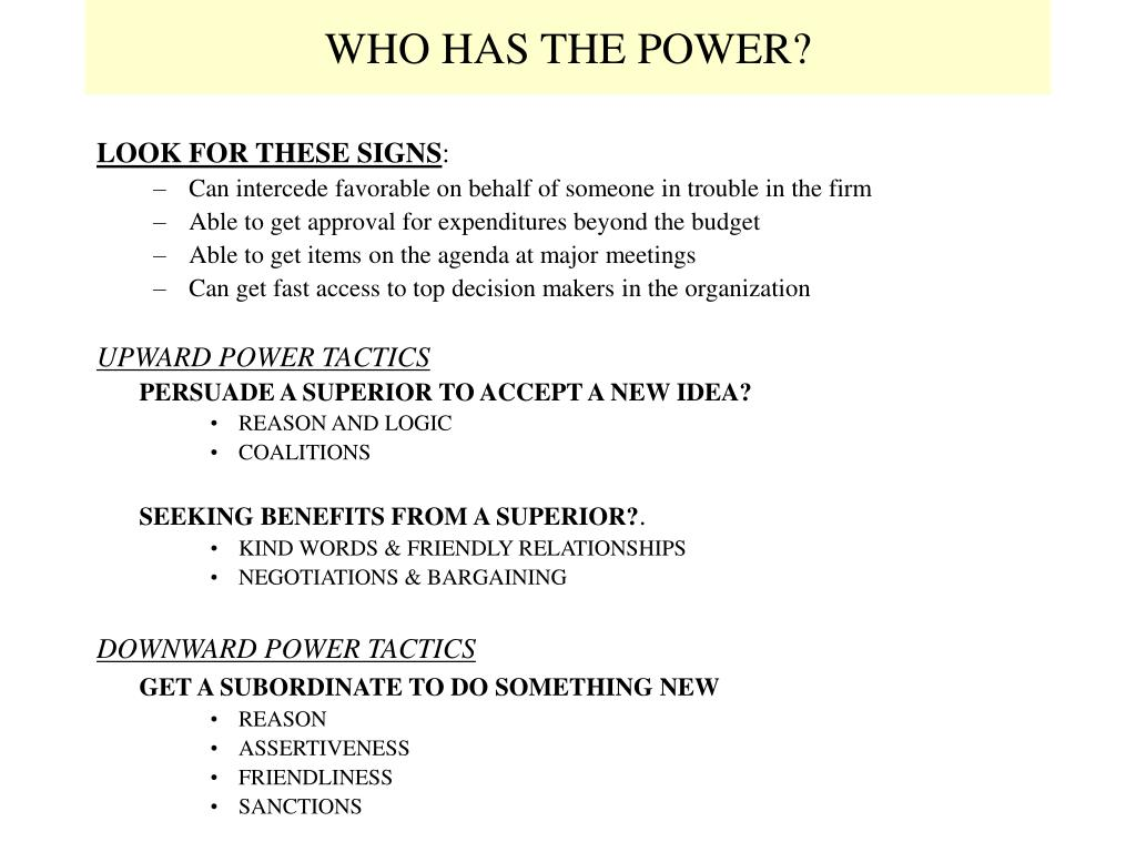 WHO HAS THE POWER?