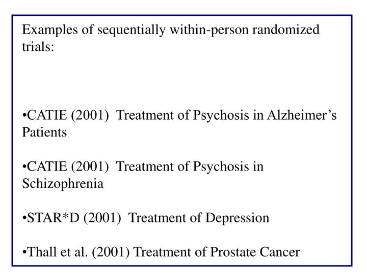 Examples of sequentially within-person randomized trials: