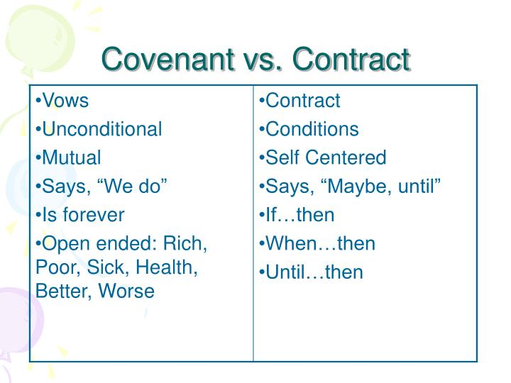 Covenant vs. Contract