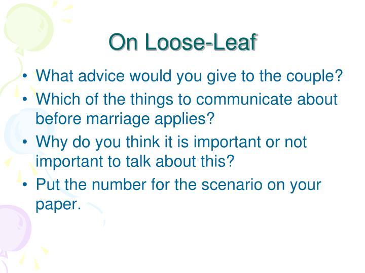 On Loose-Leaf