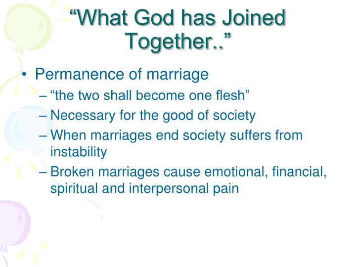 """What God has Joined Together.."""