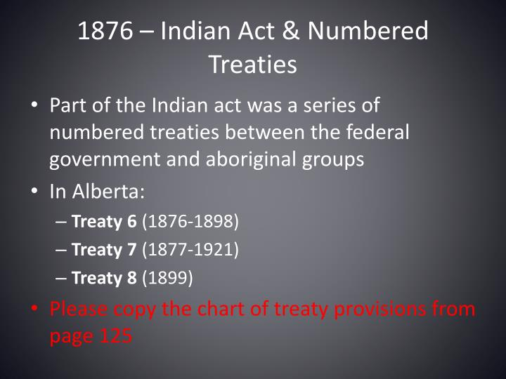 1876 – Indian Act & Numbered Treaties