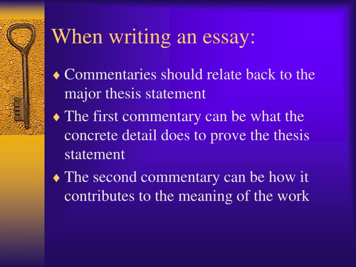 When writing an essay: