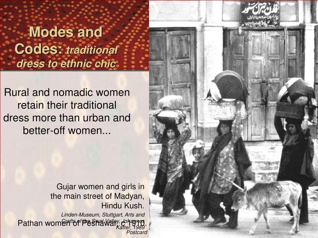 Gujar women and girls in the main street of Madyan, Hindu Kush.