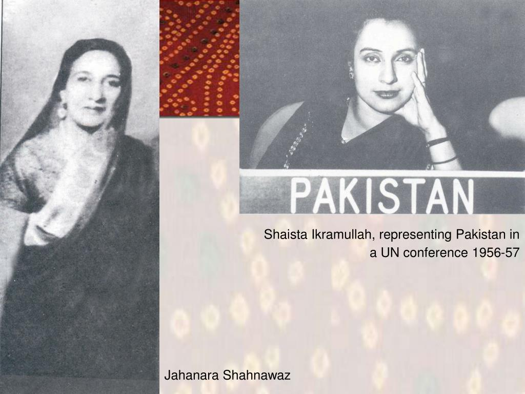Shaista Ikramullah, representing Pakistan in a UN conference 1956-57