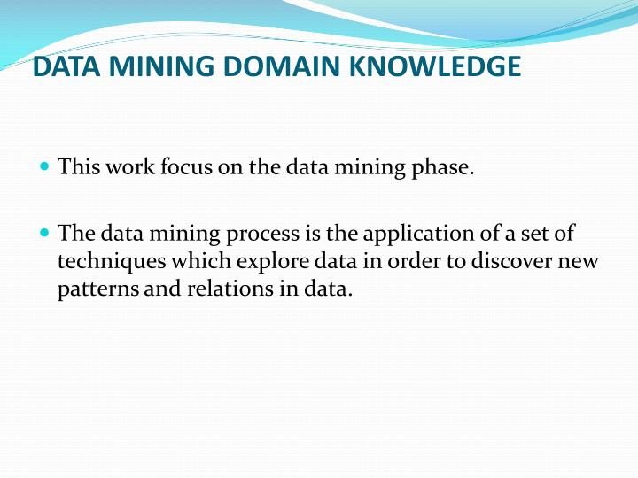 DATA MINING DOMAIN KNOWLEDGE