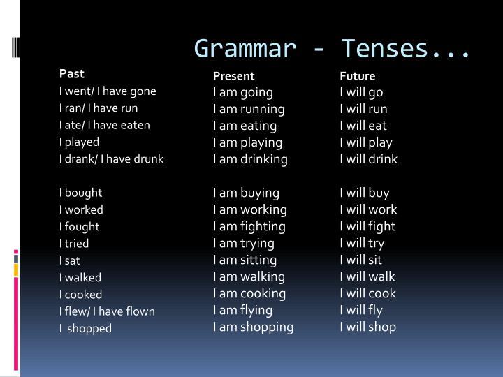 Grammar - Tenses...