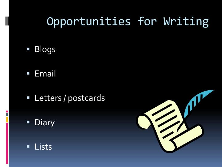 Opportunities for Writing