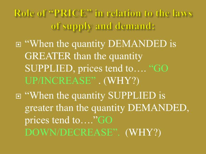 "Role of ""PRICE"" in relation to the laws of supply and demand:"