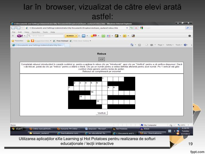 Iar n  browser, vizualizat de ctre elevi arat astfel: