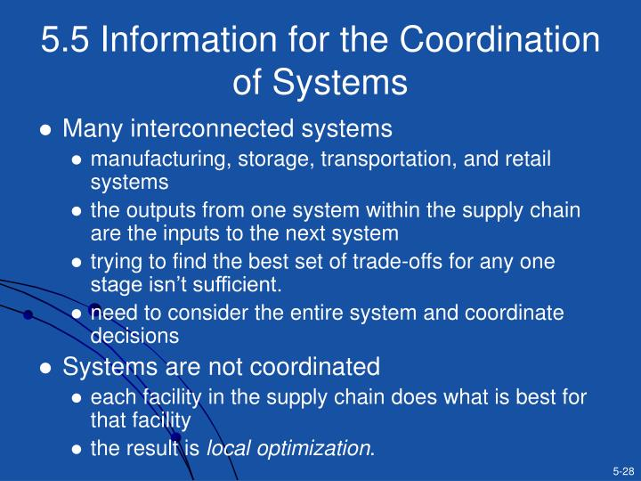 5.5 Information for the Coordination of Systems
