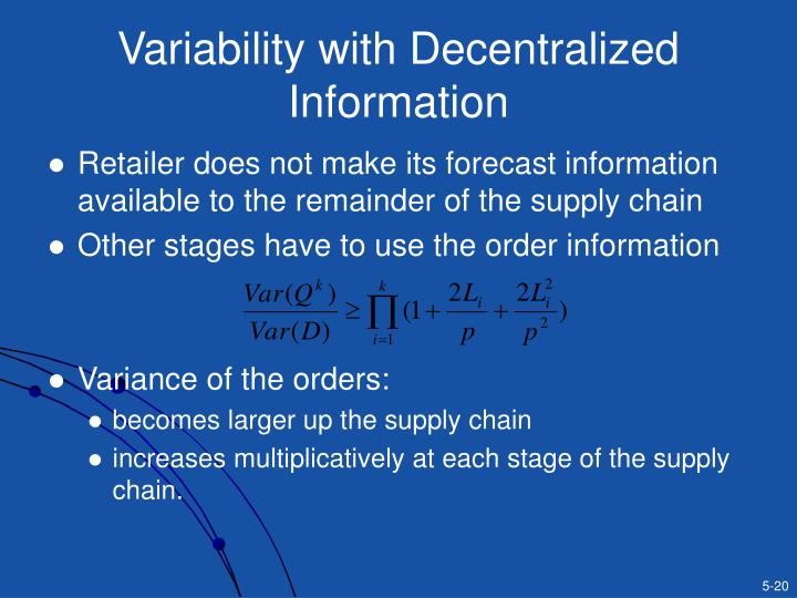 Variability with Decentralized Information