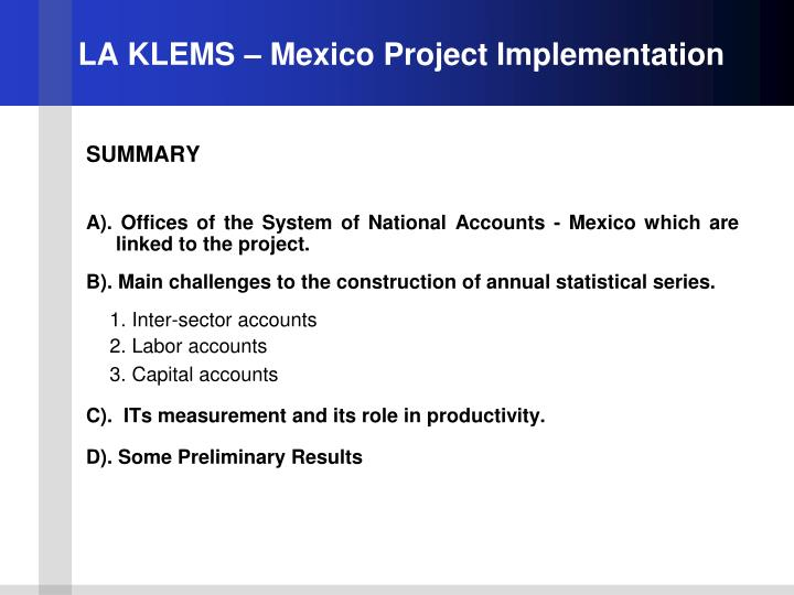 La klems mexico project implementation