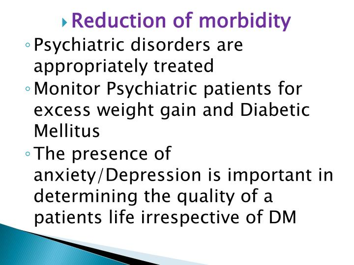 Reduction of morbidity