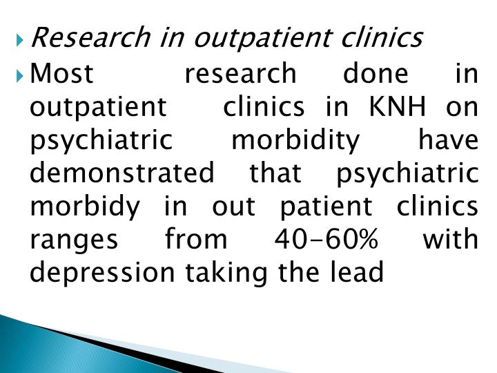 Research in outpatient clinics