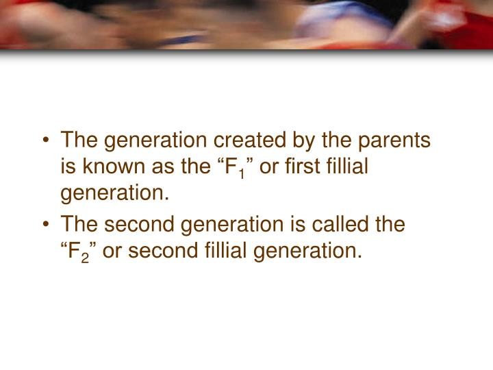 "The generation created by the parents is known as the ""F"