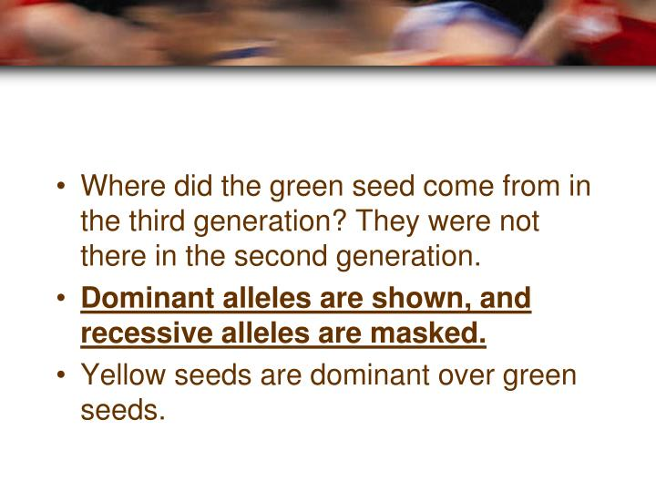 Where did the green seed come from in the third generation? They were not there in the second generation.