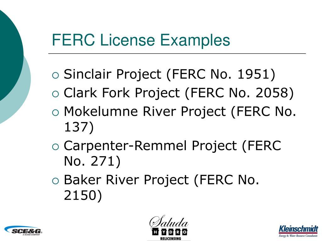 FERC License Examples