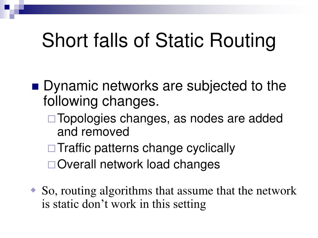 Short falls of Static Routing
