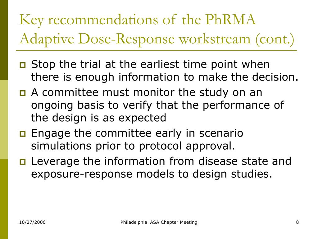 Key recommendations of the PhRMA Adaptive Dose-Response workstream (cont.)
