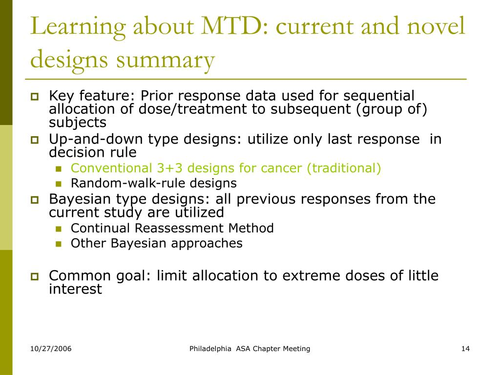 Learning about MTD: current and novel designs summary