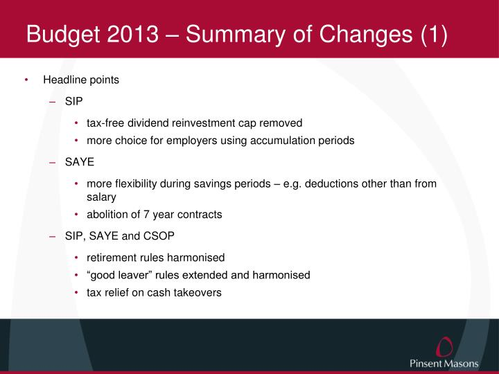 Budget 2013 – Summary of Changes (1)