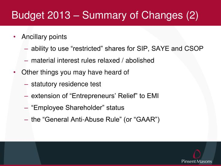 Budget 2013 – Summary of Changes (2)