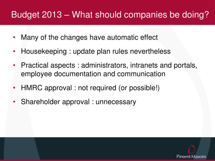 Budget 2013 – What should companies be doing?