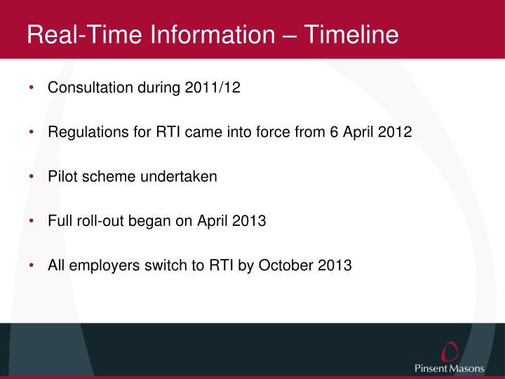 Real-Time Information – Timeline