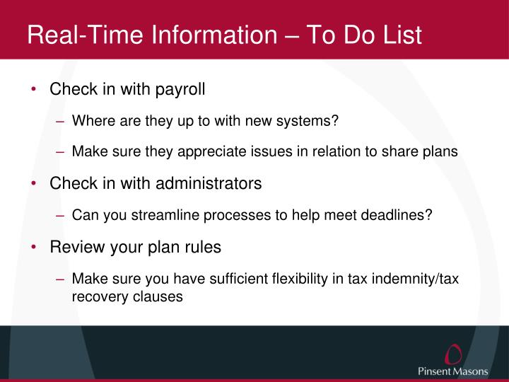 Real-Time Information – To Do List