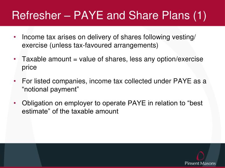 Refresher – PAYE and Share Plans (1)