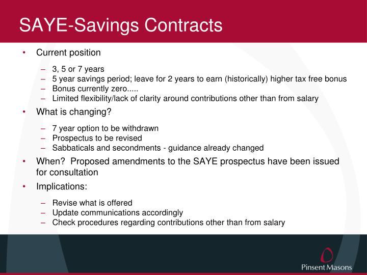 SAYE-Savings Contracts