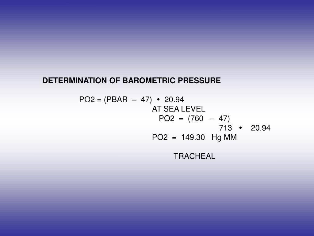 DETERMINATION OF BAROMETRIC PRESSURE