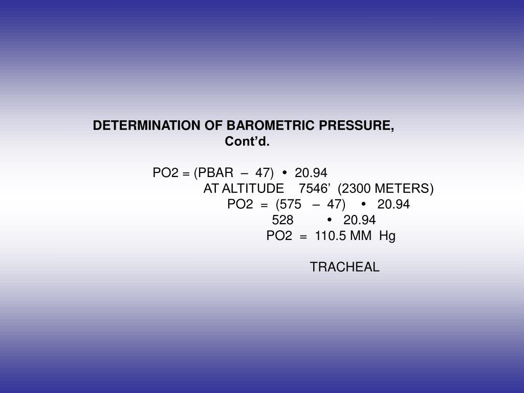 DETERMINATION OF BAROMETRIC PRESSURE,
