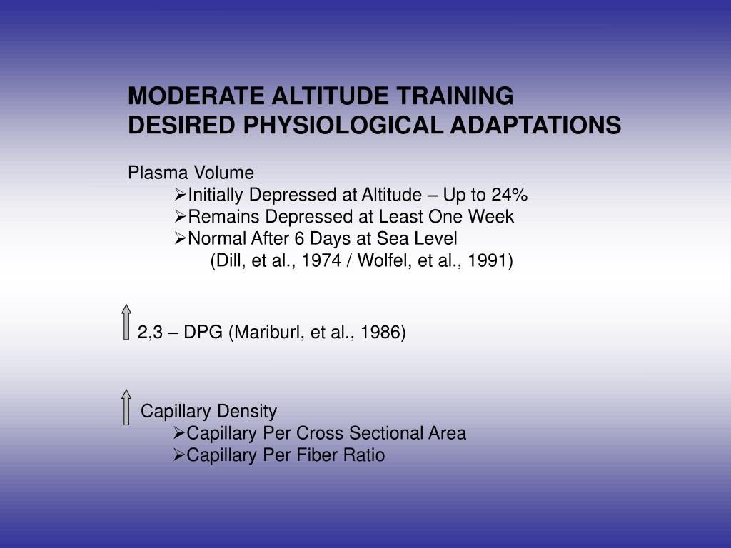 MODERATE ALTITUDE TRAINING