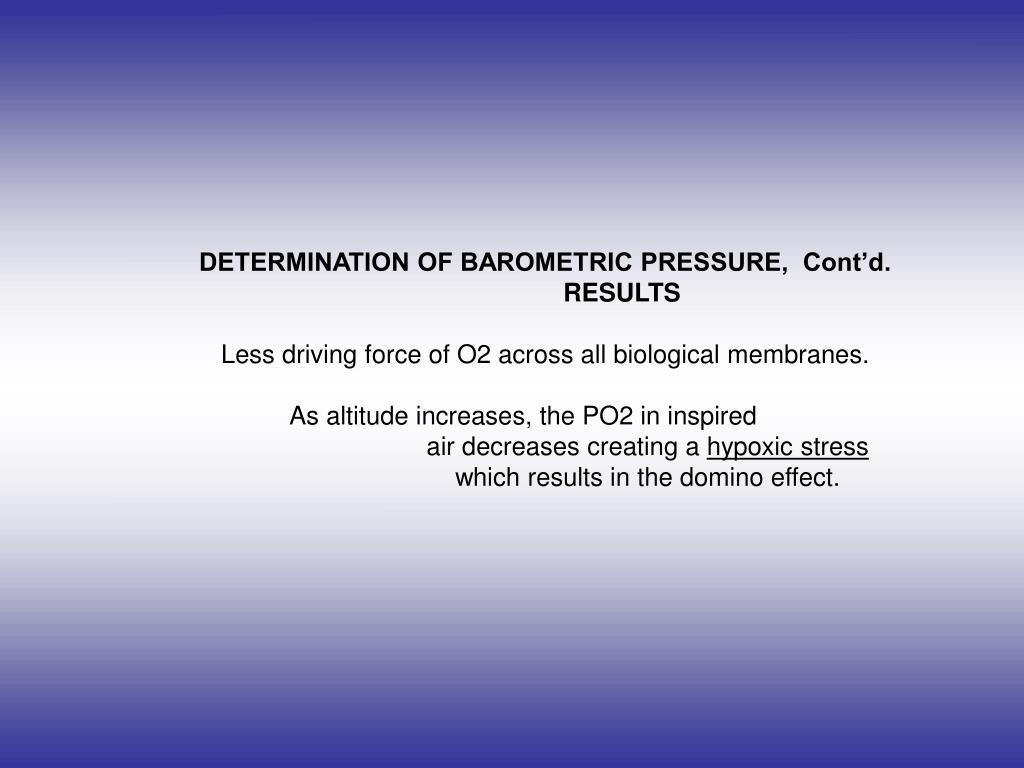 DETERMINATION OF BAROMETRIC PRESSURE,  Cont'd.