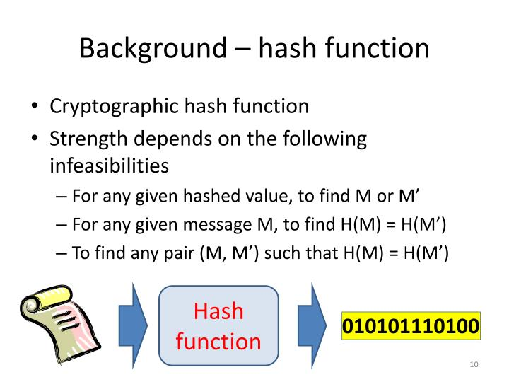 Background – hash function
